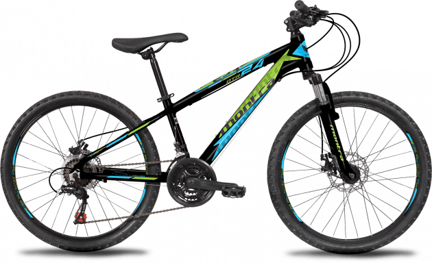 Montra DTR 2019 24T Charcoal Black with Fresh Green/Cyan Graphics